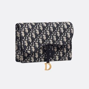 $1950 Dior Oblique Saddle Clutch Crossbody
